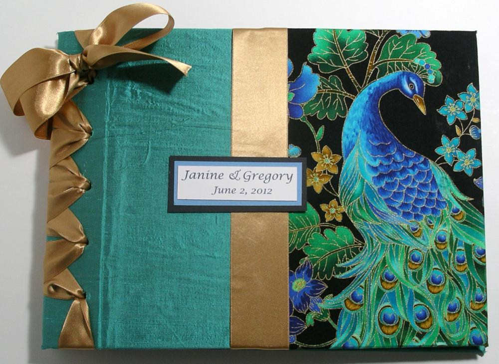 custom handmade wedding guestbook album peacock design theme on