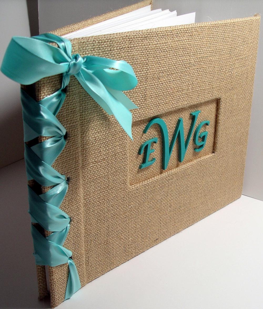 Wedding Guestbook/Album w/Monogram- Burlap w/Aqua Ribbon (custom colors available)