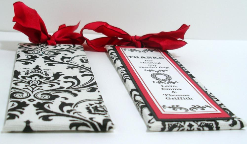 Handmade Wedding Bookmarker Favors Black White Red Damask Theme