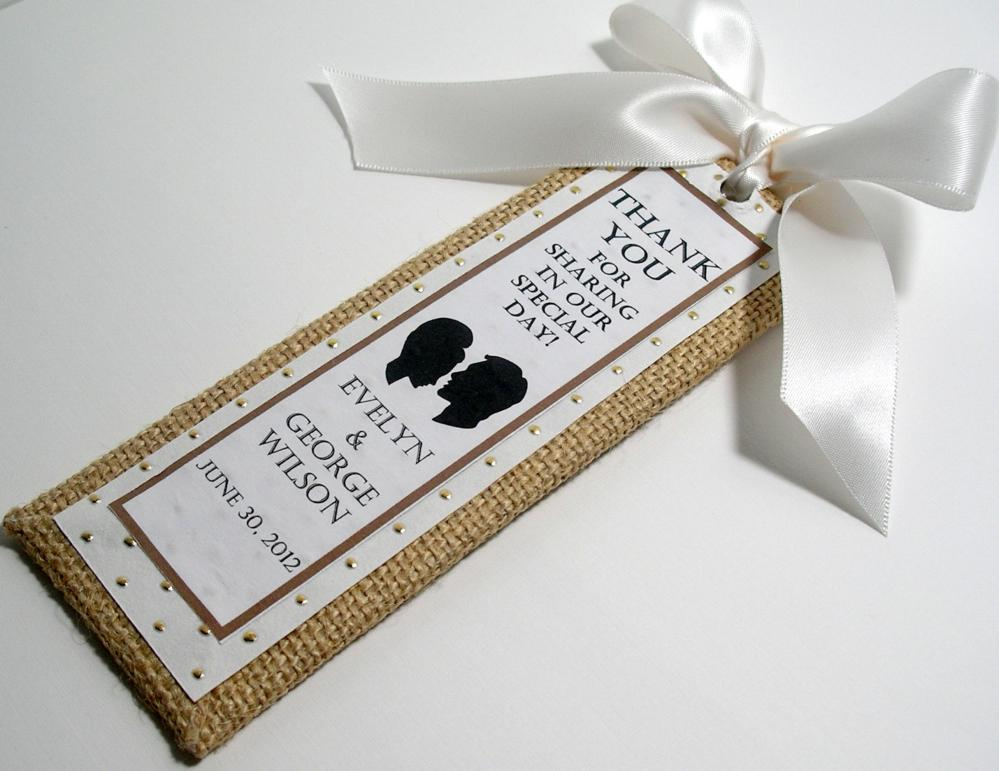 Handmade Wedding Bookmarkers Favors - Burlap Gold and White Theme (custom colors available)