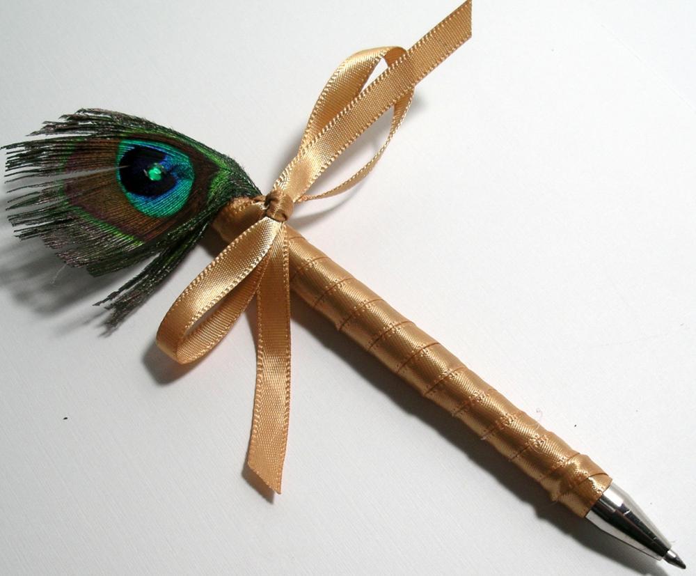 Peacock Wedding Guestbook Pen