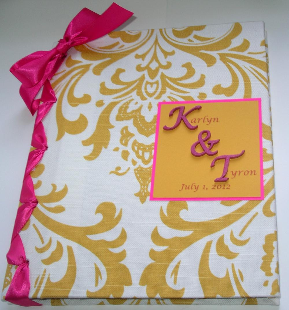 Handmade Wedding Guestbook/Album - Yellow & White Damask w/Fuschia Ribbon (custom colors available)