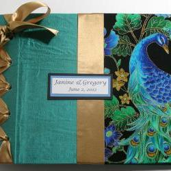 Custom Handmade Wedding Guestbook/Album - Peacock Design Theme