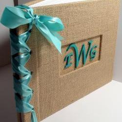Wedding Guestbook/Album w/Monogram- Burlap w/Aqua Ribbon (custom colors available)