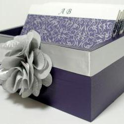 Custom Wedding Guest Box & Cards - Eggplant and Silver Theme (custom colors available)