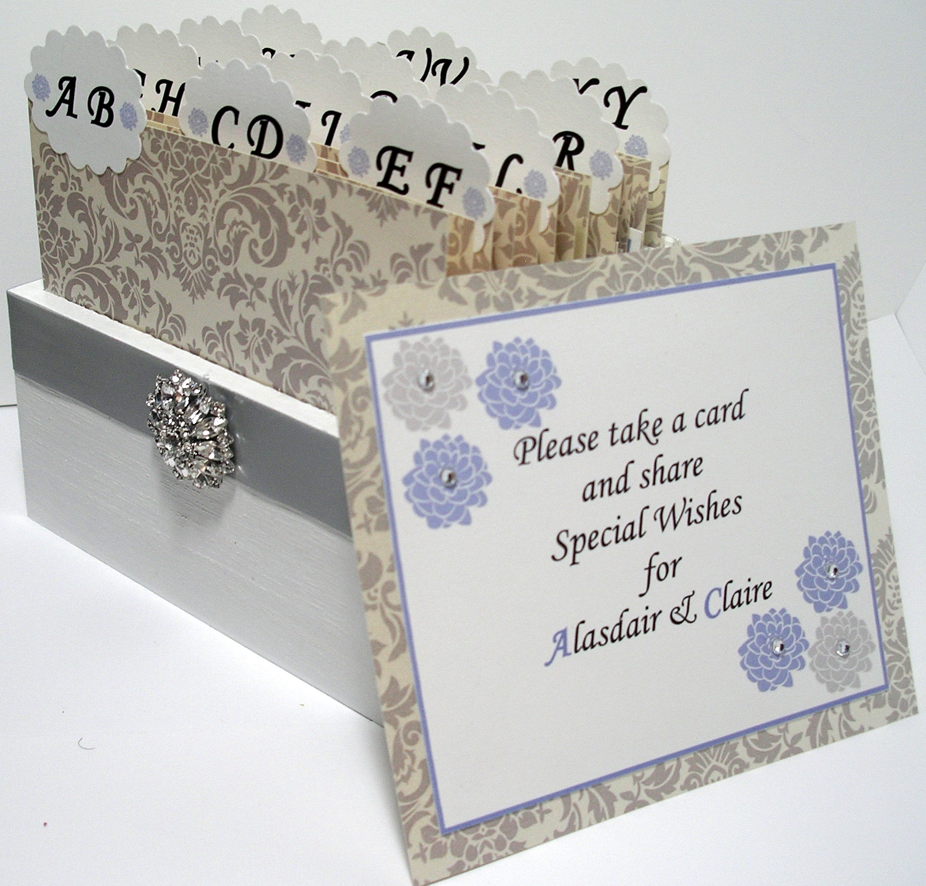 Custom Wedding Guest Box & Cards - Damask Grey, White And Powder ...